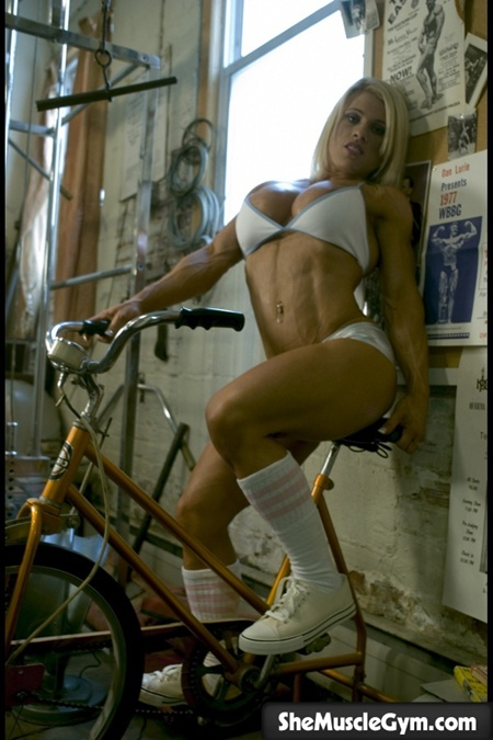 melissa on the exercise bike
