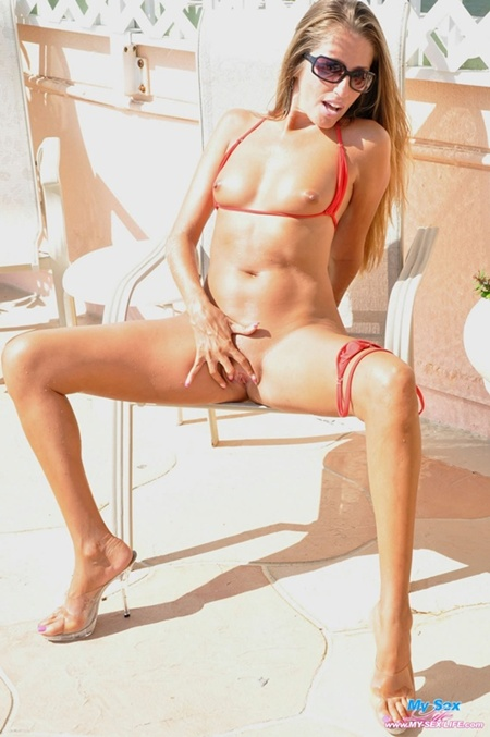 lori anderson in a red bikini